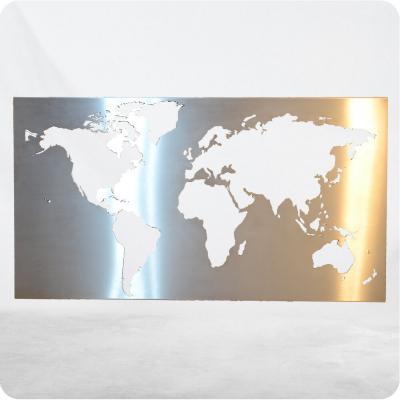 Weltbild aus gebürstetem 1.4301 Edelstahl